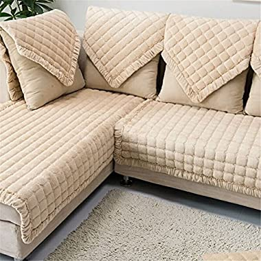 OstepDecor Multi-size Pet Dog Couch Rectangular Soft Quilted Furniture Protectors Covers for Sofa, Loveseat | ONE PIECE | Backing and Armrest Sold Separately | Beige 43  W x 94  L (110 x 240cm)