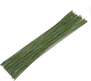 100Pcs Dark Green Floral Paper Wrapped Wire,18 Gauge Floral Stem Wire(16inch) …