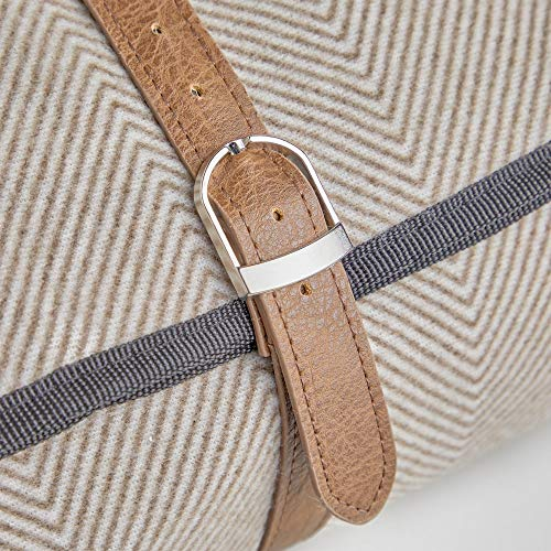 VonShef Picnic Blanket, Extra Large Outdoor Picnic Blanket with Waterproof Lining and Faux Leather Carrier Handle, Beige Herringbone Family Size Blanket 200 x 220cm