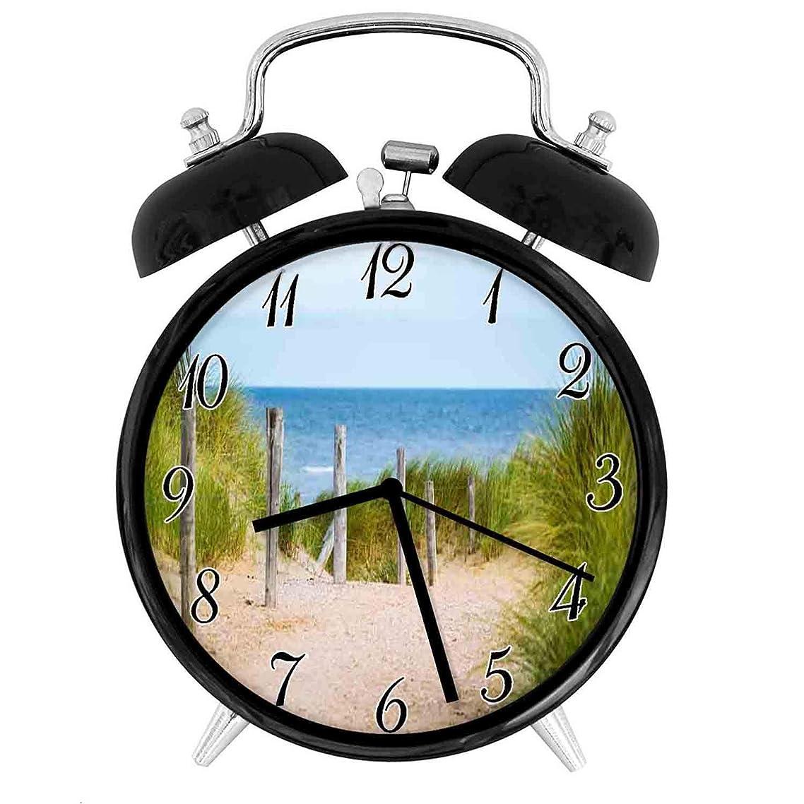 薄 海 フェンス - スタイリッシュなダブルベルの目覚まし時計 - 3.8インチ、騒音無し、柔らかい夜の光、レトロでスタイリッシュなデザイン、各部屋を飾ります