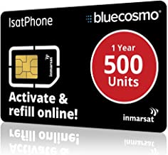 BlueCosmo IsatPhone 500 Unit Global Satellite Phone Prepaid Service SIM Card for Inmarsat IsatPhone Pro and IsatPhone 2-1 Year Expiry - No Activation Fees - Voice - SMS Text Messaging
