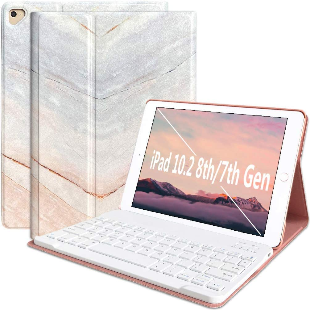iPad 6th Generation Cases with Keyboard iPad 9.7 2018(6th Gen) 2017(5th Gen) iPad Pro 9.7 iPad Air 2 & 1 Keyboard Case Bluetooth Keyboard Case Cover Ultra-Thin Auto Sleep Wake Tablet Case Marble Pink