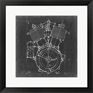 Motorcycle Engine Blueprint IV by Ethan Harper Framed Art Print Wall Picture, Black Frame, 21 x 21 inches
