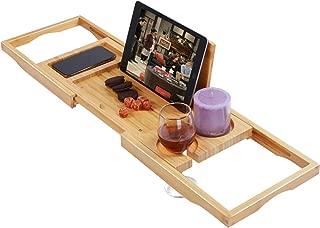 Utoplike Bamboo Bathtub Caddy Tray Bath Tray for Tub, Adjustable Bathroom Bathtub Organizer with Book Tablet Wine Glass Cup Towel Holder,Distinctive Gift for Christmas (24.8