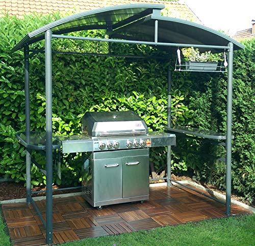 DMS® Grillpavillon | Grillzelt | Raucherpavillon | Überdachung | Unterstand mit Abzug aus Aluminium | mit Abstellfläche | feuerhemmendes Kunststoffdach | wasserdicht