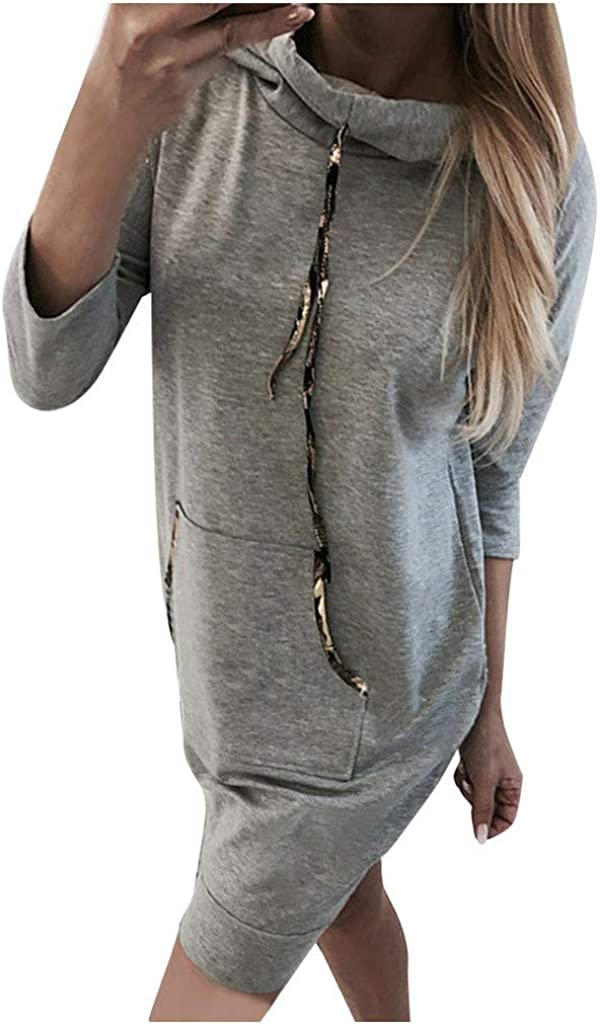 Women's Sweatshirt Dress Casual Solid Color Loose Long Sleeves with Pockets Drawstring Lapel Pullover Blouse Sweatshirts