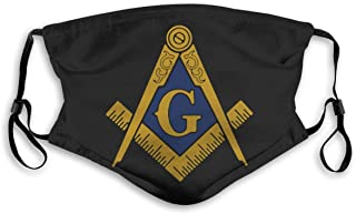Freemason Bandanas for Men Face Scarf Neck Gaiter Pm2.5 with Filters M Black