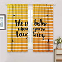 GUUVOR Quote Blackout Curtain Set Life is Better When You are Laughing Hand Drawn Calligraphy on Stripes Kindergarten Shading Insulation W42 x L63 Inch Orange Yellow and Black