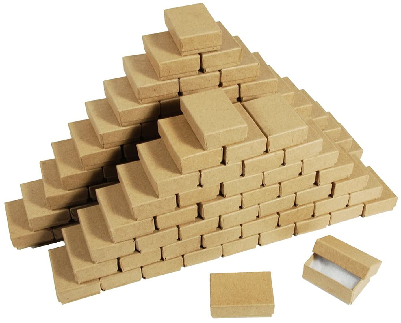 New 25 Kraft Cotton Filled Gift Boxes 2 1/8