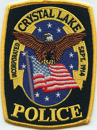 Embroidered Patch - Patches for Women Man - Crystal Lake Illinois IL Yellow Border Police