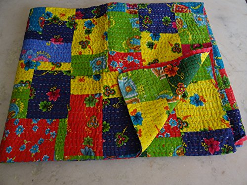 Tribal Textiles asiatiques Imprimé patchwork multicolore Reine Couvre-lit King taille housse couette lit couverture, X, X, X, Parure de lit Bohème x Taille 228,6 x 274,3 cm 1081