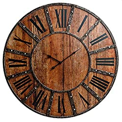 30 Rustic Wood Plank and Metal Frameless Farmhouse Wall Clock