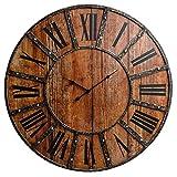 30' Rustic Wood Plank and Metal Frameless Farmhouse Wall Clock