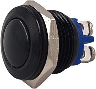 Momentary Push Button Switch, URTONE UR162, 1NO SPST DC 30V AC 220V 3A Aluminum Alloy Metal Shell Suitable for 16mm 5/8