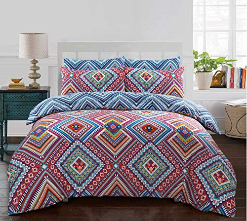Night Comfort Eco Breathable Geometric Multicoloured Boho Cotton Blend Modern Duvet Cover Set With Pillowcases (Single)