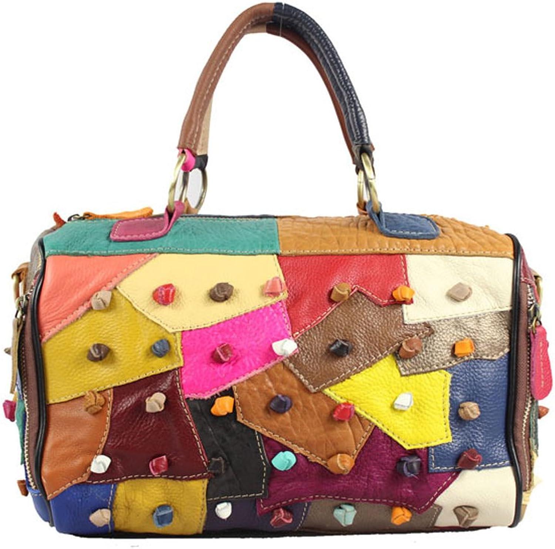 Genuine Cowhide Retro Style Plaid Handbag Women'S TopHandle Bag