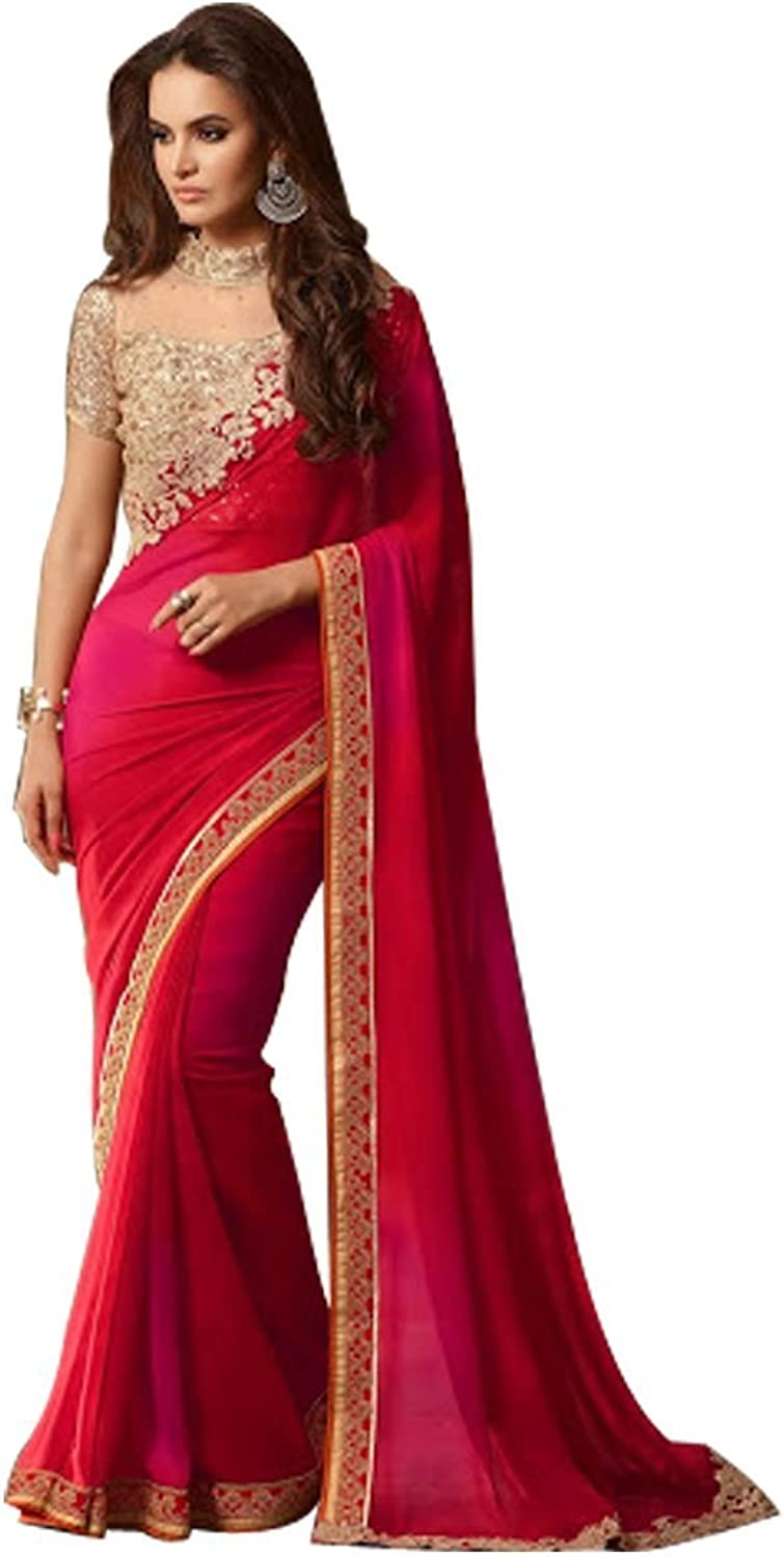 BOLLYWOOD DESIGNER NEW FASHION STYLISH SAREE SARI WITH EMBROIDERY BLOUSE WEDDING CEREMONY PARTY WEAR INDIAN MUSLIM WOMEN BY ETHNIC EMPORIUM ds
