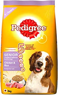 Pedigree Senior Dry Dog Food Food, Chicken and Rice, 3kg Pack
