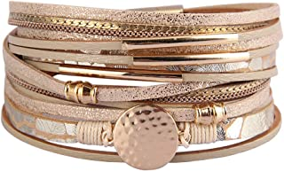 AZORA Womens Leather Cuff Bracelet Wrap Bracelets Gorgeous Magnetic Bangle Handmade Wristbands Jewelry Bohemian for Women, Teen Girls, Mother