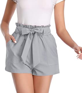Paper Bag Shorts for Women high Waisted Casual Shorts Elastic Waist Front Pockets