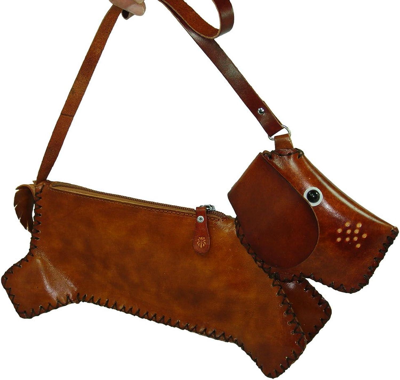 Genuine Leather Shoulder cross Body Bag, Dachshund Dog Pattern, Brown and Medium Size