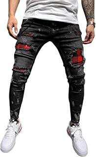 Men's Slim Fit Ripped Jeans Trousers Casual Solid Colour Skinny Distressed Denim Pants
