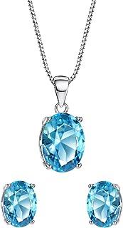 Topaz Jewelry Set Sterling Silver 3ct October Birthstone Fine Jewelry for Women Pendant Necklace Stud Earrings