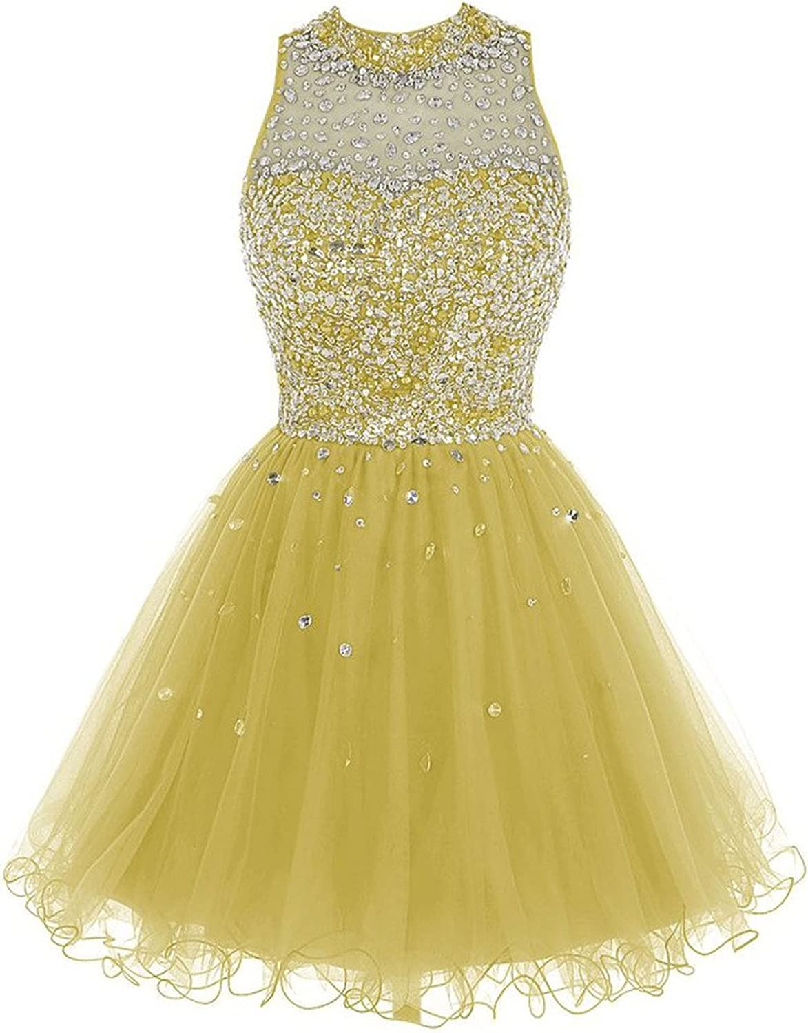 Cdress Crystal Beads High Collar Short Tulle Prom Dresses Homecoming Party Gowns