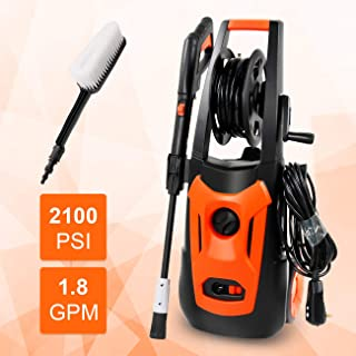 Electric Pressure Washer ,2100PSI 1.8 GPM 1800W Washer Cleaner Machine with,Spray Gun,Spray Brush,Adjustable Nozzles and Onboard Detergent Tank Car Washer