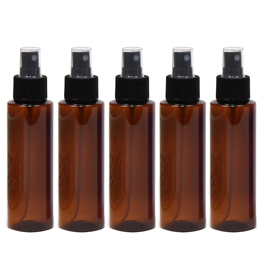 変形する値するパラシュートスプレーボトル100mLブラウン黒ヘッド5本ストレートボトル遮光性ペットボトルおしゃれ容器br100sbk5
