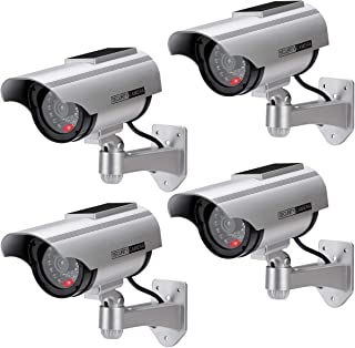 AlfaView Solar Powered Bullet Dummy Surveillance Camera Security CCTV Dome Camera with LED Flashing Light for Outdoor/Indo...