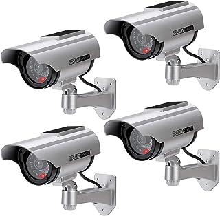 Cámara Falsa Cámara de vigilancia Falsa simulada con Bala Solar Cámara Domo CCTV de Seguridad con luz LED Intermitente para Exteriores Interiores hogar Negocios (4 Paquete)