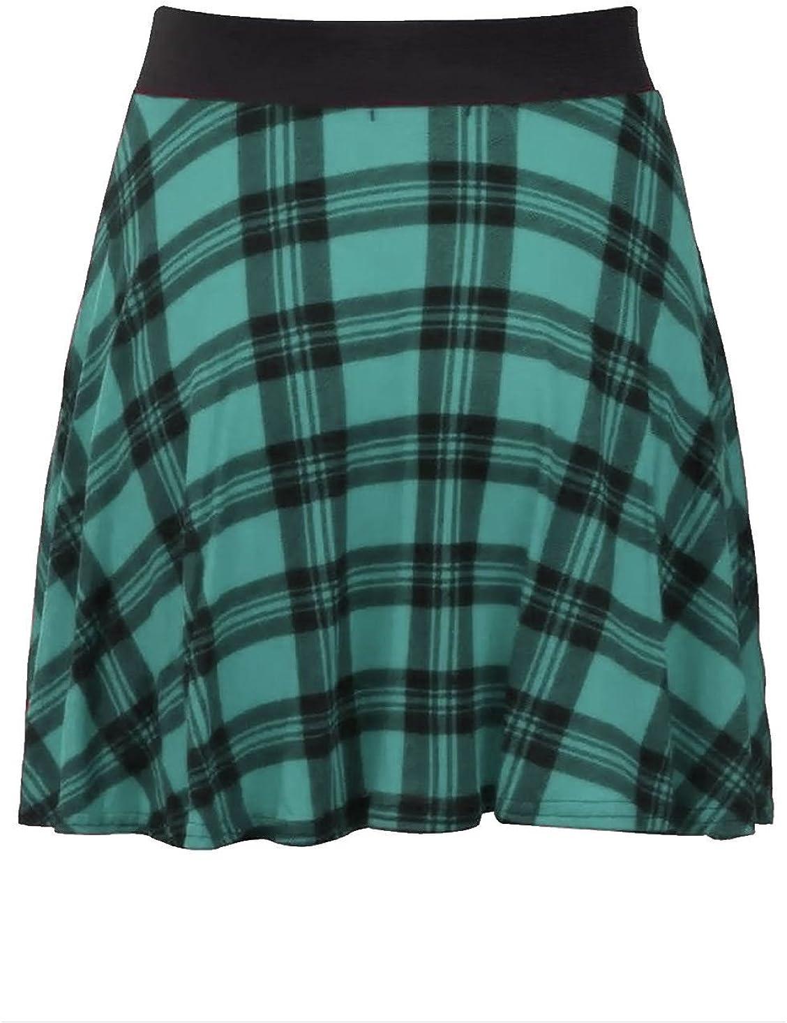 Rimi Hanger Womens Tartan Check Belted Skirt Ladies Elasticated Waist Casual Skater Skirt S/2XL