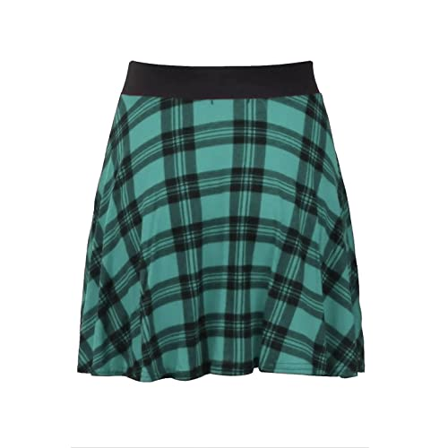 e9e80befa Womens Check Tartan Printed Ladies Contrast Elastic Waistband Stretch Short  Mini Flared Skater Skirt