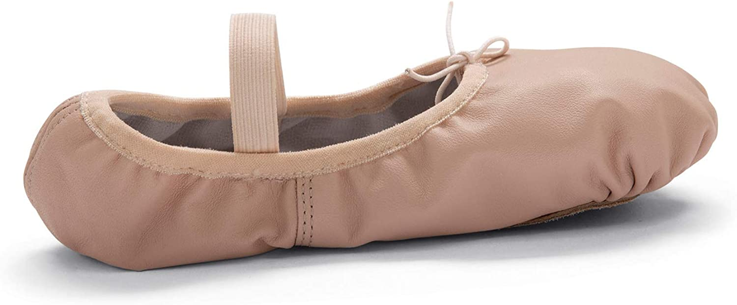 Body Wrappers 201A Adults' Tiler Full Sole Leather Pleated Ballet Slipper (Theatrical Pink, 7 W US)