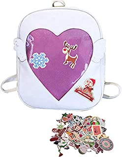 Abuyall Candy Backpacks Transparent Love Heart Shape Pu Leather School Bags B