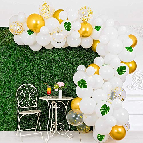 Cheap Balloon Garland Arch Party Kit - 125 Pcs White Gold Confetti Balloons Artificial Palm Leaf Str...