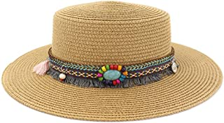 SXQ Summer Handmade Straw Hat Women's Outdoor Travelling Wide-brimmed Beach Hat Ladies' Sun Hat With Turquoise Decoration Foldable Sunproof Straw Hat UV Protective Panama Hat Visor For Vocation Seasid