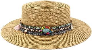 WELSUN Straw Sun Hat for Women Men Travel Beach Straw Sun Hat Elegant Lady Fedora Wide Brim Panama Sun Hat Size 56-58CM (Color : Khaki, Size : 56-58CM)