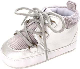 Weixinbuy Toddler Baby Boy's Shoes Lace-up Anti-Slip Soft Sole High-top Sneaker Shoes Prewalker