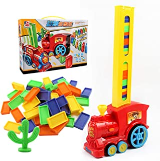 60 PCS Domino, OrzBuy Domino Blocks Train Model with Lights and Sounds Construction Toy, Kids Domino Set Creative Gifts fo...