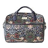 Signare Gobelin Laptop Tasche Laptoptasche 15.6 Zoll, Notebook Tasche 15.6 Zoll Business Taschen Damen mit William Morris Designs (Erdbeerdieb Blau)