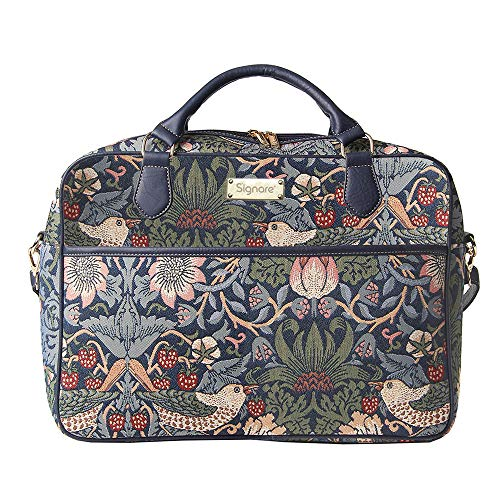 Signare dames laptoptas/laptoptas/laptoptas, design William Morris Strawberry Thief, 15,6 inch / 39,6 cm, blauw
