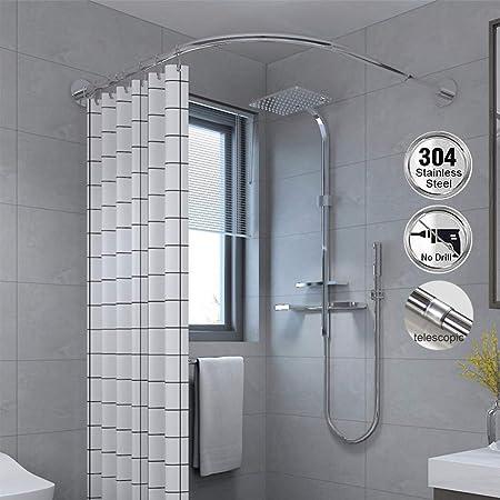 CRGL Duschvorhangstange L Form ohne Bohren Duschvorhangschiene Duschstange Badewanne Ecke Ausziehbare Duschvorhangstangen Edelstahl Gardinenstange Teleskopstange,70 to 95cm /× 70 to 95cm