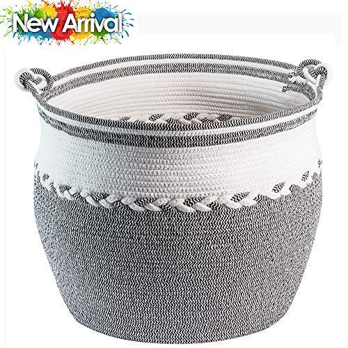 "TerriTrophy XXLarge Blanket Basket with Handles 22.6"" W x 18""H Woven Storage Basket for Blankets, Throws, Toys, Towels in Bedroom, Bathroom, Nursery Basket, Laundry Basket"