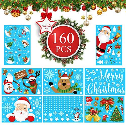 160pcs Weihnachtsdeko Fenster, Fensterbilder Weihnachten Fenstersticker mit Schneeflocken Weihnachtsmann,Wiederverwendbar Weihnachten Fensterdeko Abnehmbare Statisch Haftende PVC Aufkleber Winter Deko