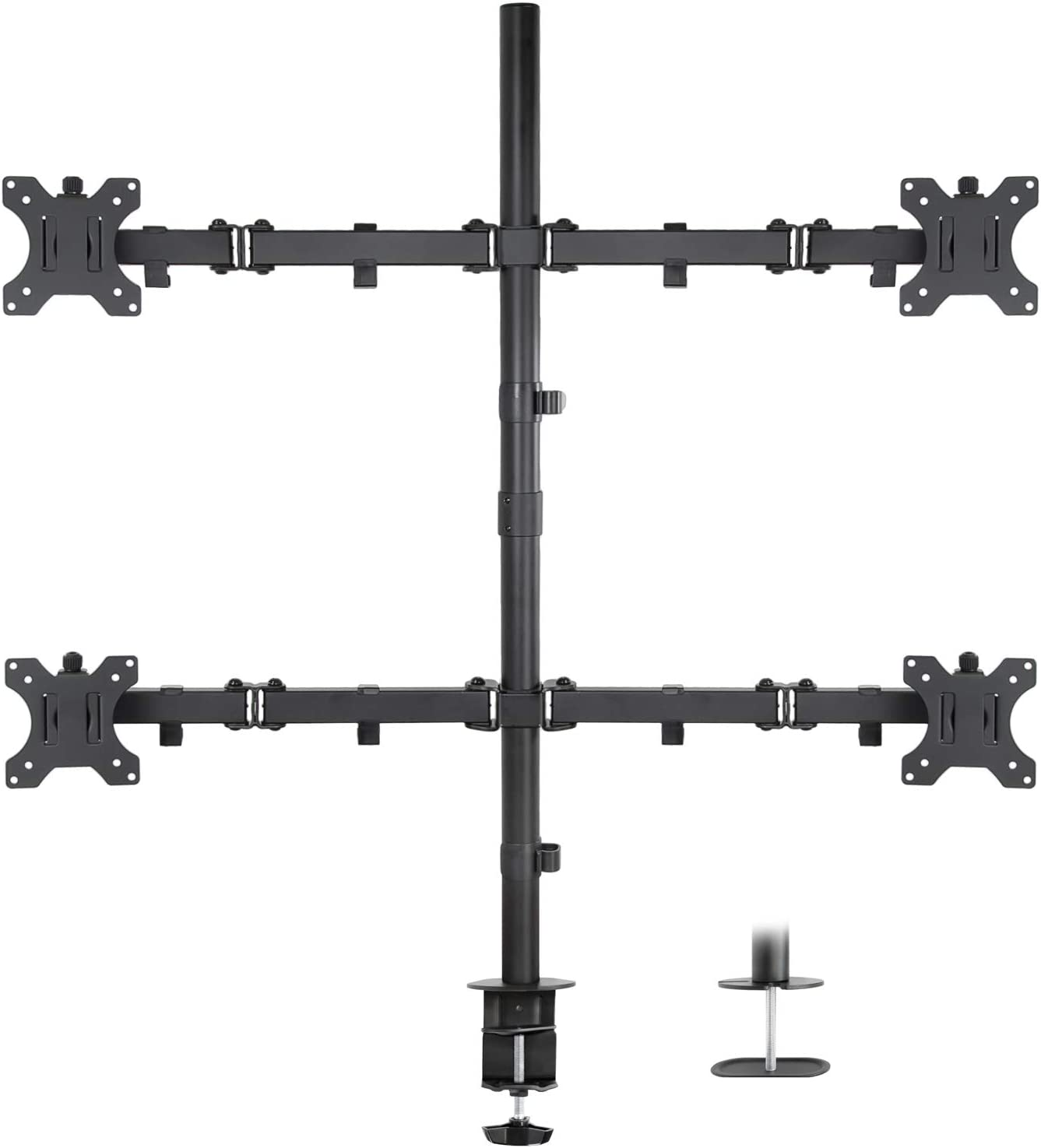 Mount-It! 4 Monitor Stand | Quad Monitor Desk Mount | Fits Four Computer Screens 19 21 24 27 29 30 32 Inches | Heavy Duty Height Adjustable Arms | VESA 75 100 Compatible | C-Clamp and Grommet Bases