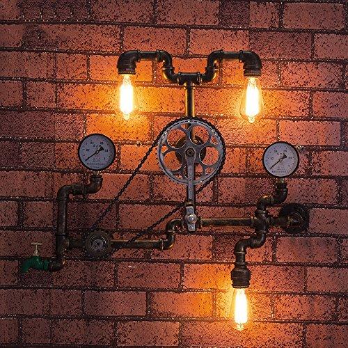 Loft Retro Edison Rad Lager Fahrrad Schmiedeeisen Wandleuchten für Wohnzimmer Schlafzimmer Bar Cafe Vintage Industrial Metall Steampunk Wasser Rohr Wand Lampe Leuchten Länge: 75 cm