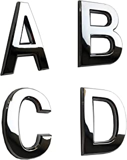 hopewan 4 Pack House Letters Stickers A B C D, 2-3/4in Alphabet Stickers Chrome Plating, for Home Decoration/Address Plaque/Apartment Door, Bright and Shining (2.75