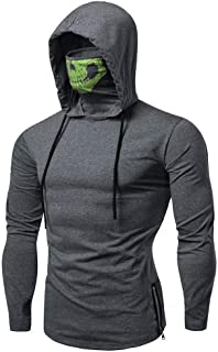 Mens Hoodie, Mens Skull Mask Pullover Casual Solid Zip Long Sleeve Hooded Sweatshirt Tops